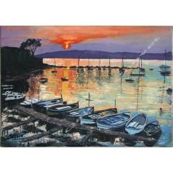Couché de soleil sur le port de l'Olivette