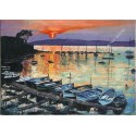 Painting Sunset on the port of the Olivette oil
